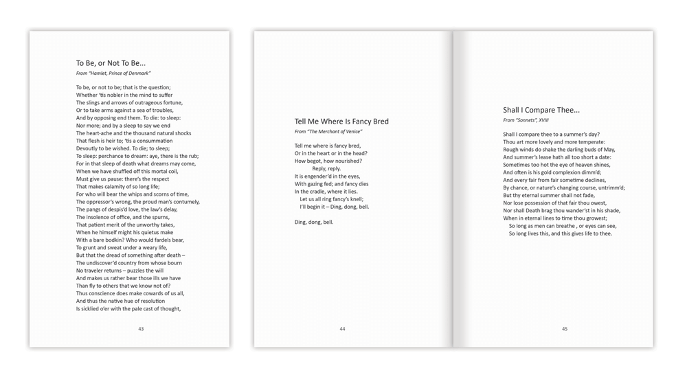 Book layout templates perfect formats and fonts for your for Poetry booklet template